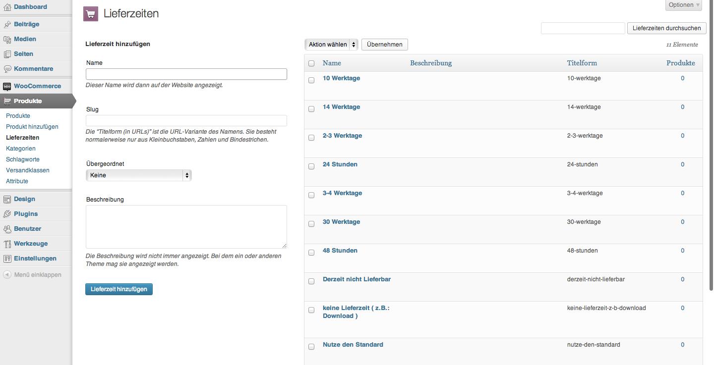Lieferzeiten Editor im WooCommerce German Market Plugin für WordPress