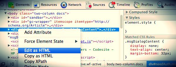 CSS anpassen mit Chrome Dev Tools 2