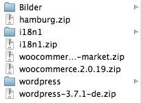 Mein Verzeichnis mit den benötigten Dateien