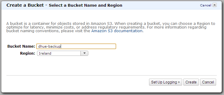 01 Amazon Glacier How to BackWPup Backup WordPress - create a bucket