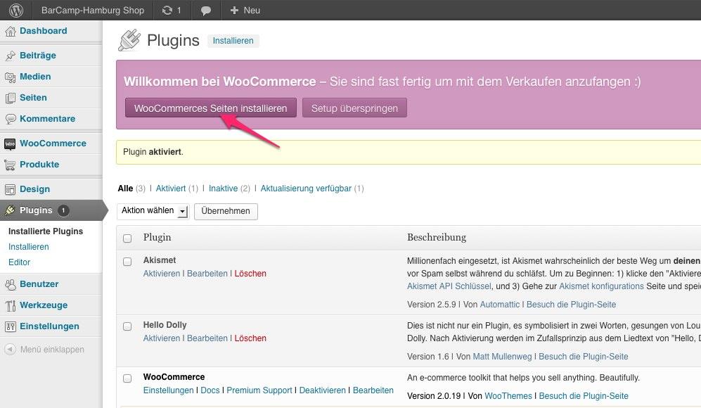 WooCommerce Seiten installieren