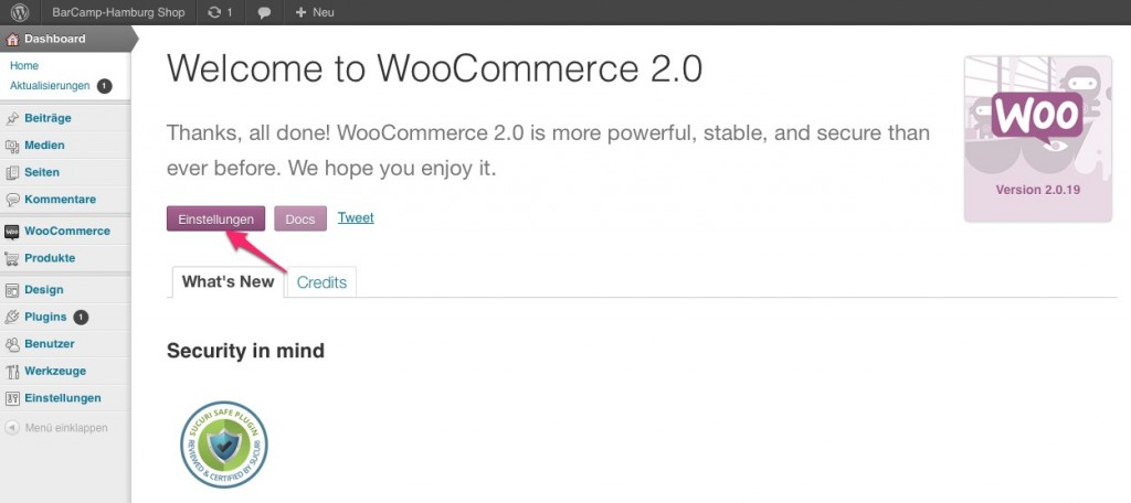 WooCommerce ist installiert