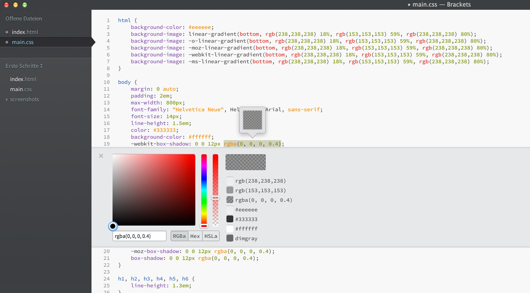 Der Colorpicker im Quick Edit einer CSS-Datei.