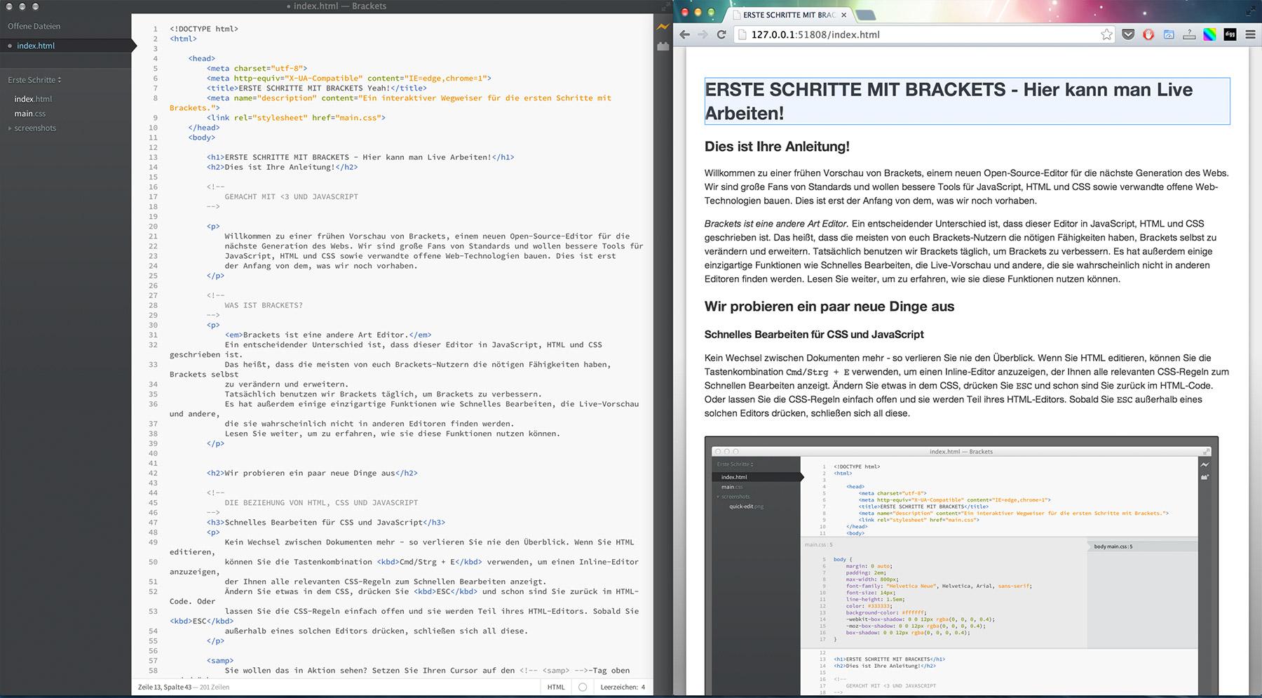 Live Preview von Brackets. Links der Editor und Rechts wird in Echtzeit das Ergebniss angezeigt.