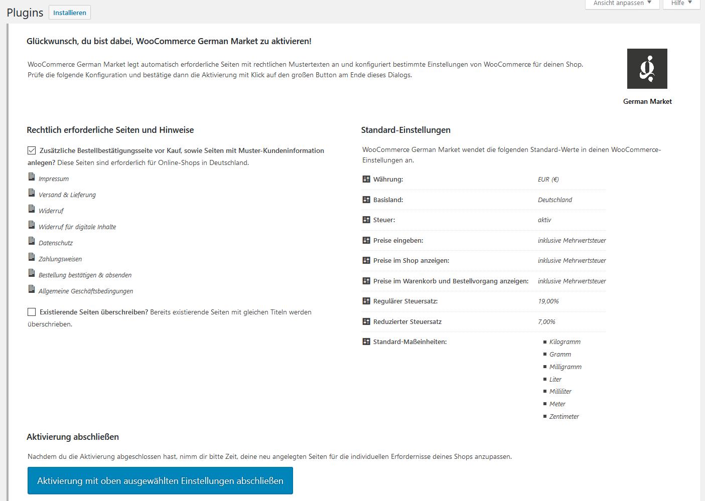 Anleitung: German Market für WooCommerce installieren - Onlineshop besser vor Abmahnung schützen 3