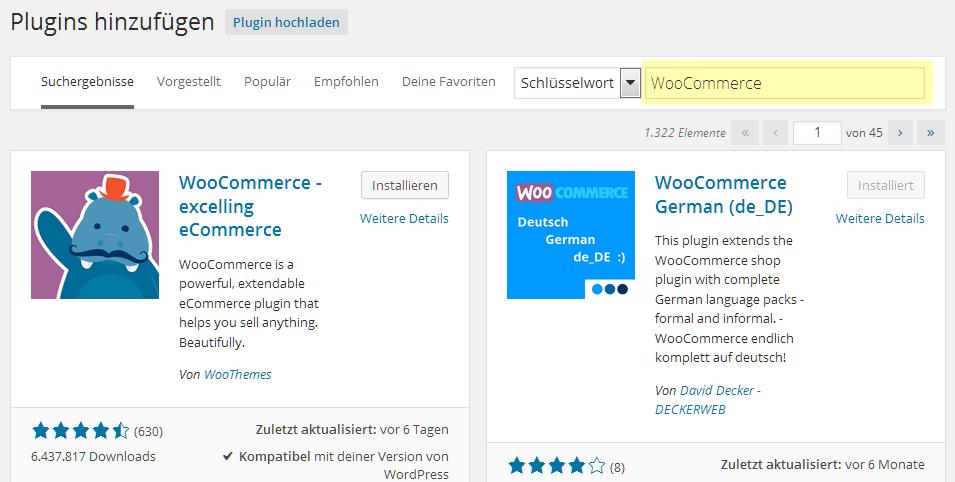 Das WooCommerce Plugin hinzufügen