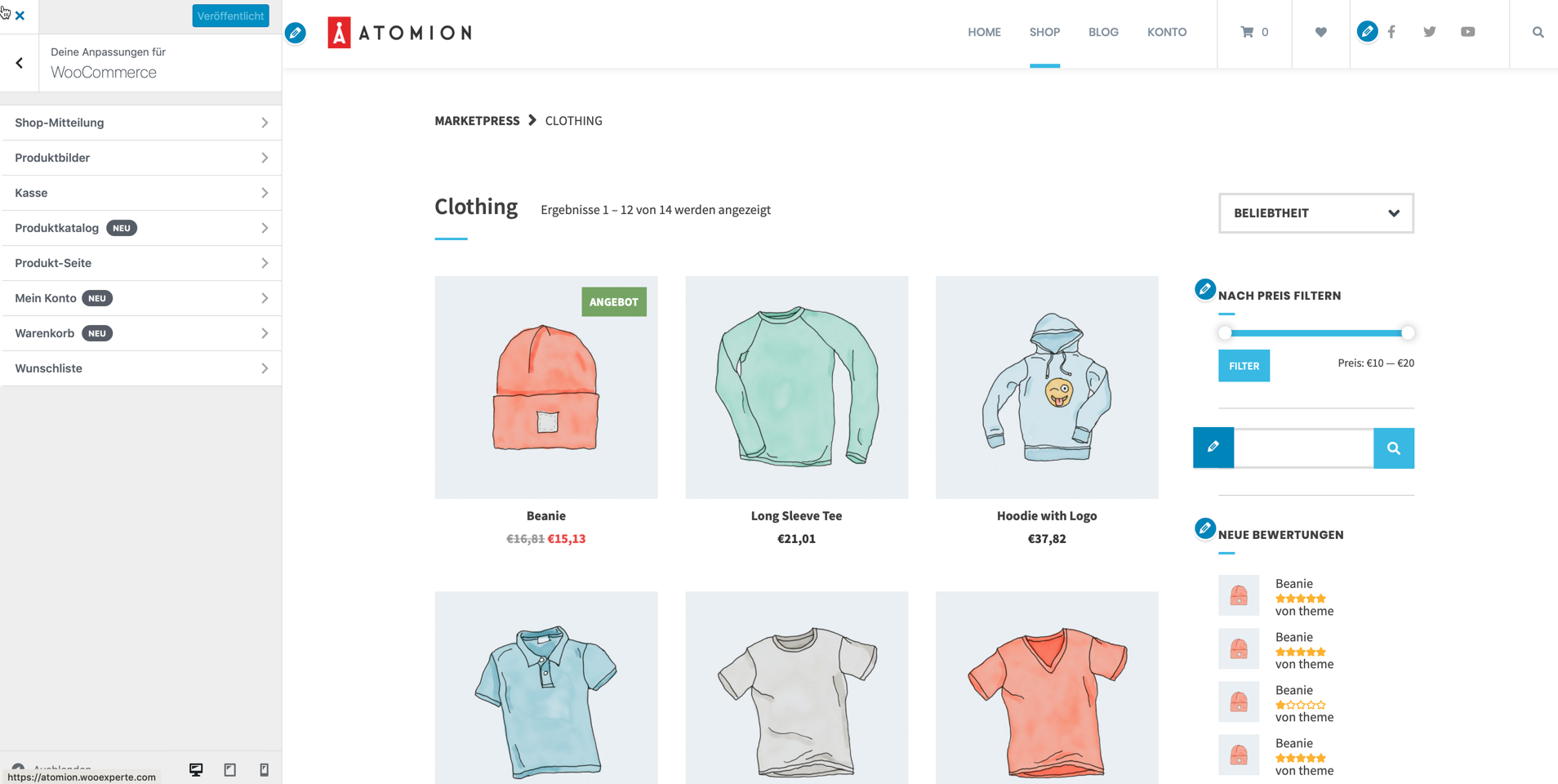 Atomion Customizer WooCommerce