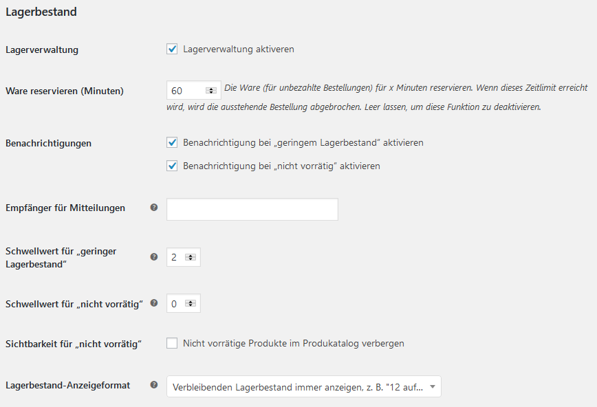 woocommerce lagerbestand