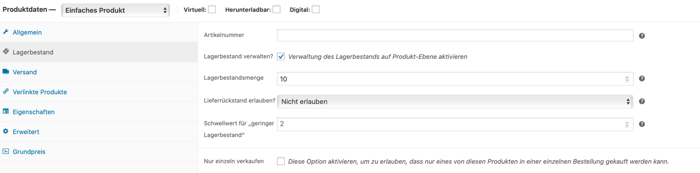Lagerbestand WooCommerce