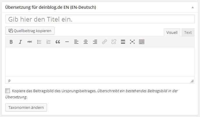 WordPress Beitrag übersetzen