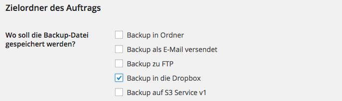 BackWPup Dropbox - Schritt 1