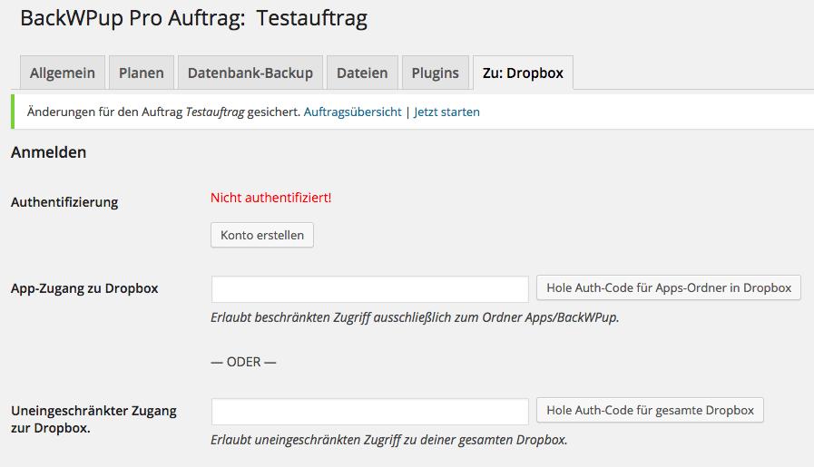 BackWPup Dropbox - Schritt 3