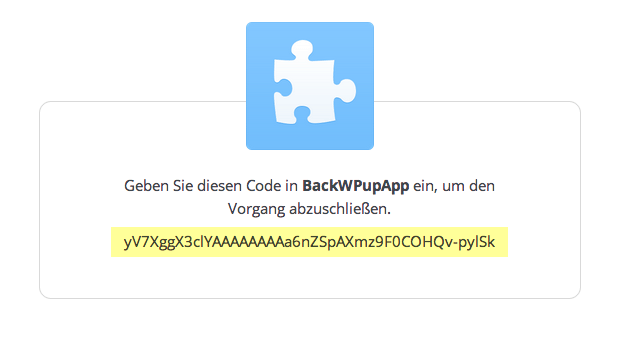 Dropbox Code für das WordPress Backup