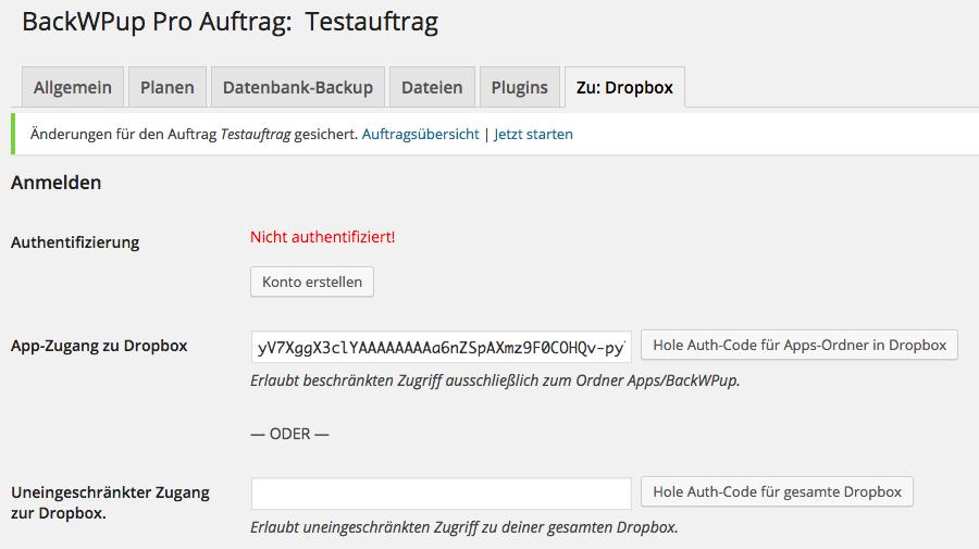BackWPup Dropbox - Schritt 6