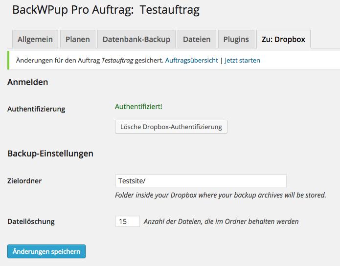 BackWPup Dropbox - Schritt 7