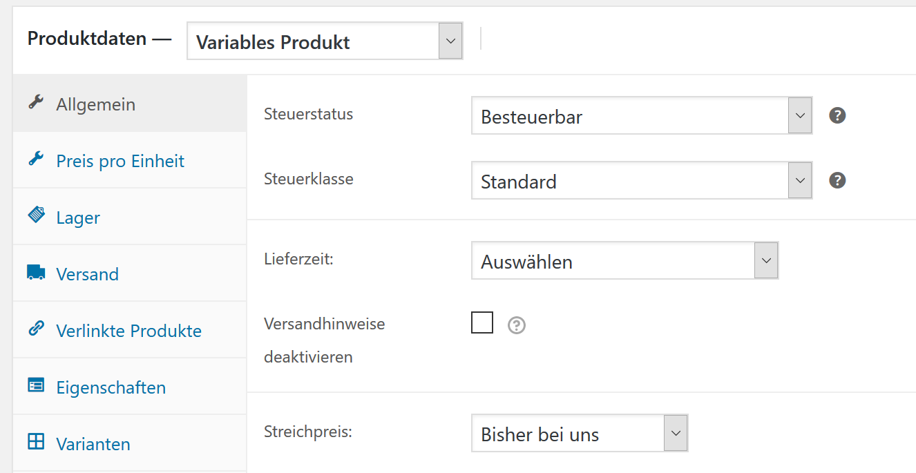 Neues variables Produkt