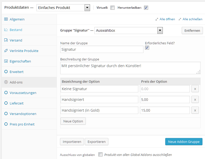 Die Optionen von WooCommerce Product Add-ons