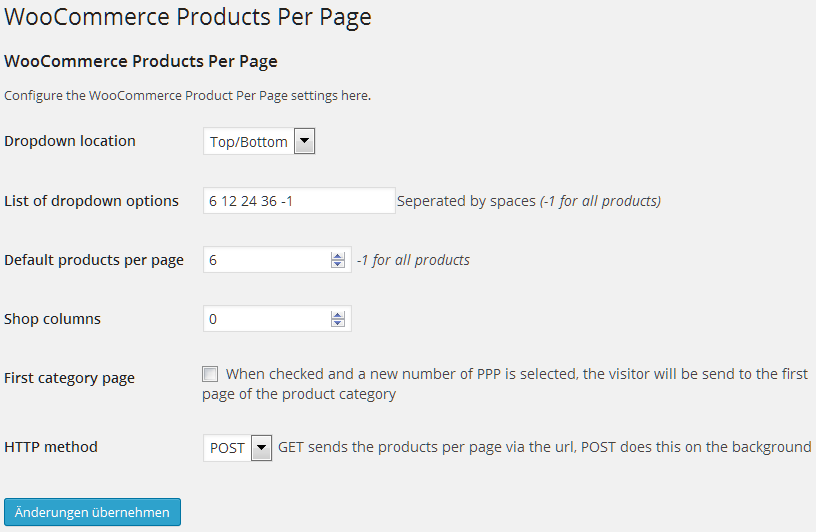 Die Optionen von WooCommerce Products Per Page