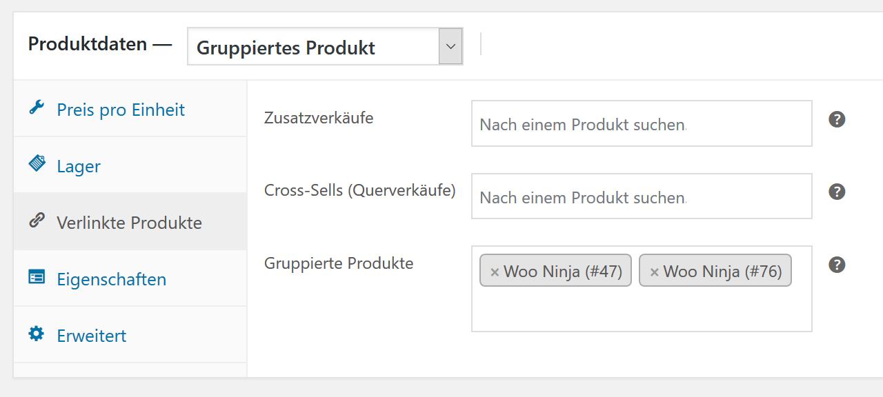 Gruppierte Produkte WooCommerce