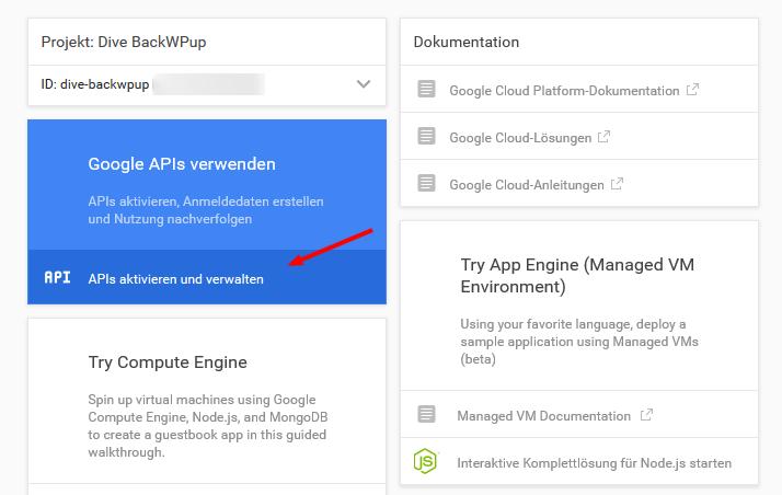 API's aktivieren verwalten