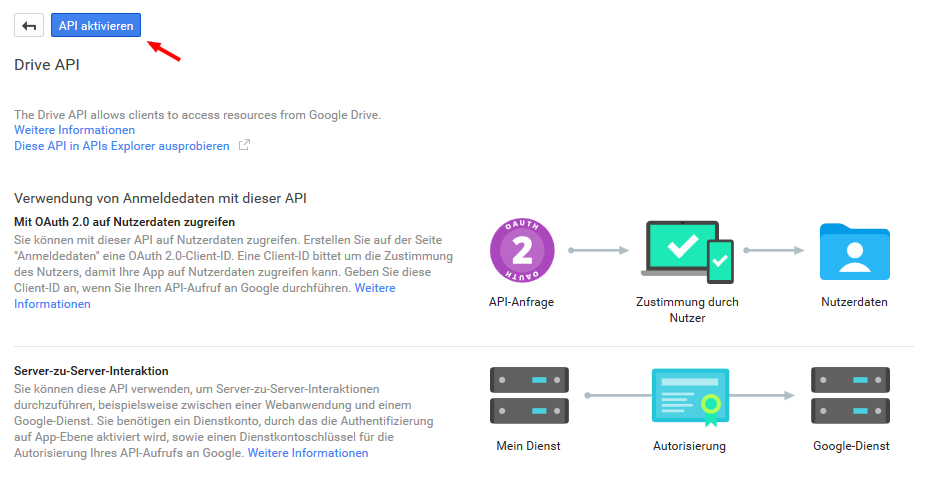 Drive API aktivieren