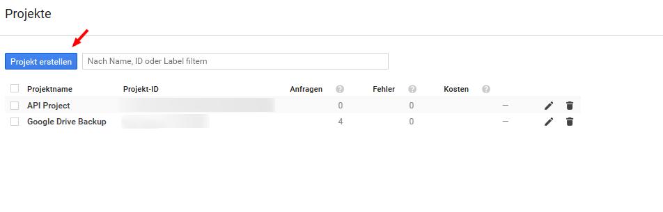 Google API Projekt erstellen