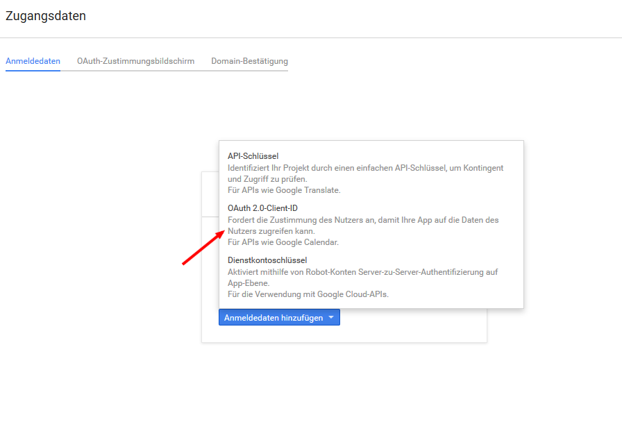 OAuth 2.0 Client ID auswählen