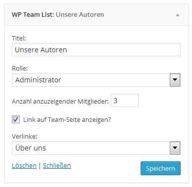 Teamlist Widget Admin