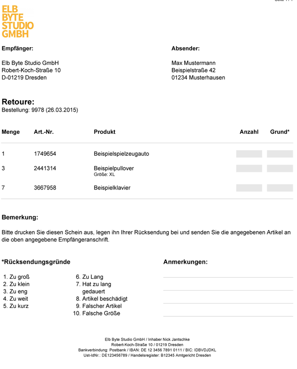 Auch individuell gestaltete Retourenscheine lassen sich mit German Market erstellen