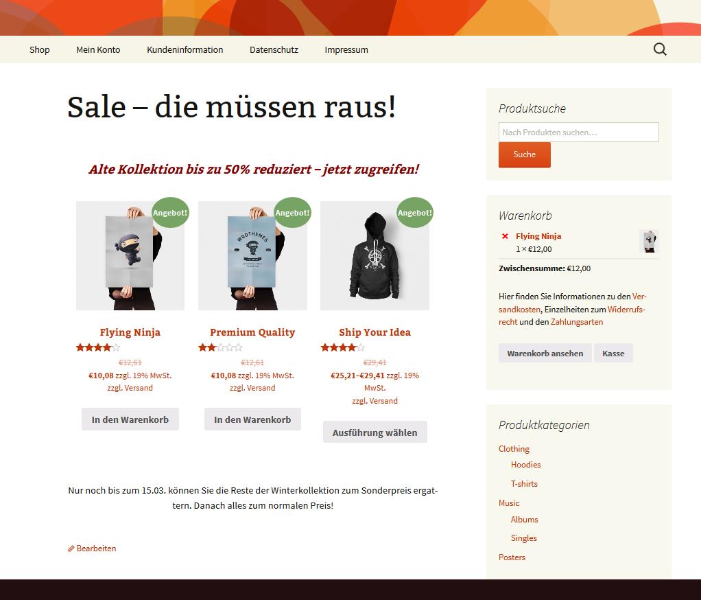 Eine Sale Seite, realisiert mit einem Woocommerce-Shortcode.