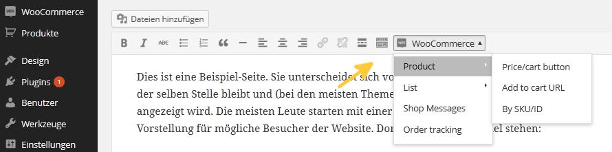 Der WooCommerce-Shortcodes Button im Editor.