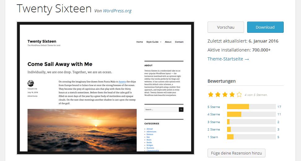 Theme Bewertungen bei wordpress.org