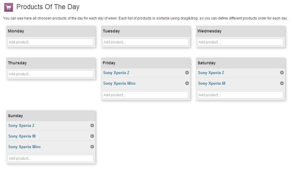 """Ein beispielhafter Zeitplan von """"Products of the Day"""" (Abbildung © WooThemes)"""