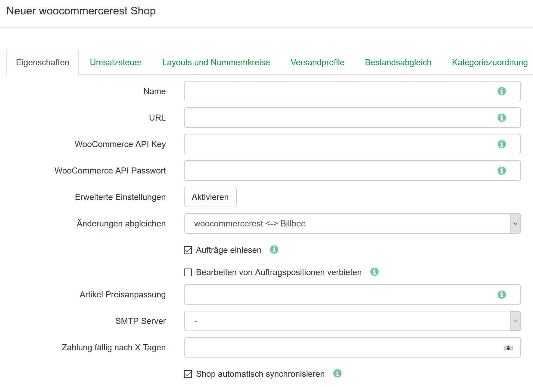 billbee optionen woocommerce