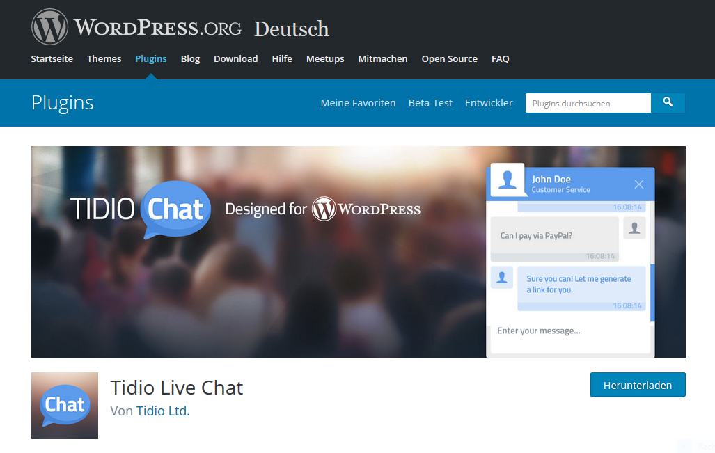 Live Chat Plugin für WordPress