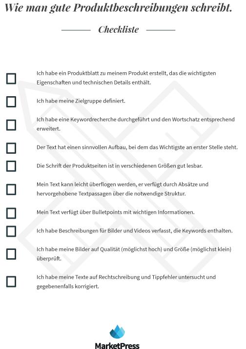 checkliste produktbeschreibung
