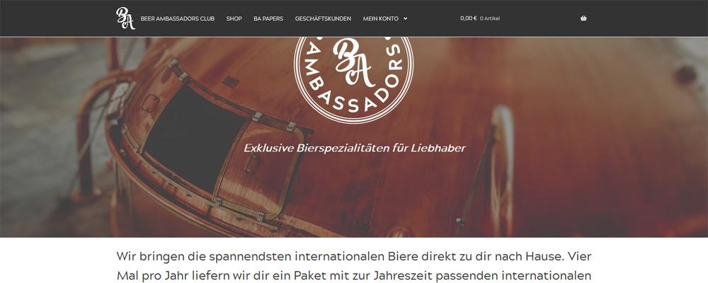 WooCommerce Projekte vorgestellt: Die Beer Ambassadors - Bierspezialitäten im Abo 1