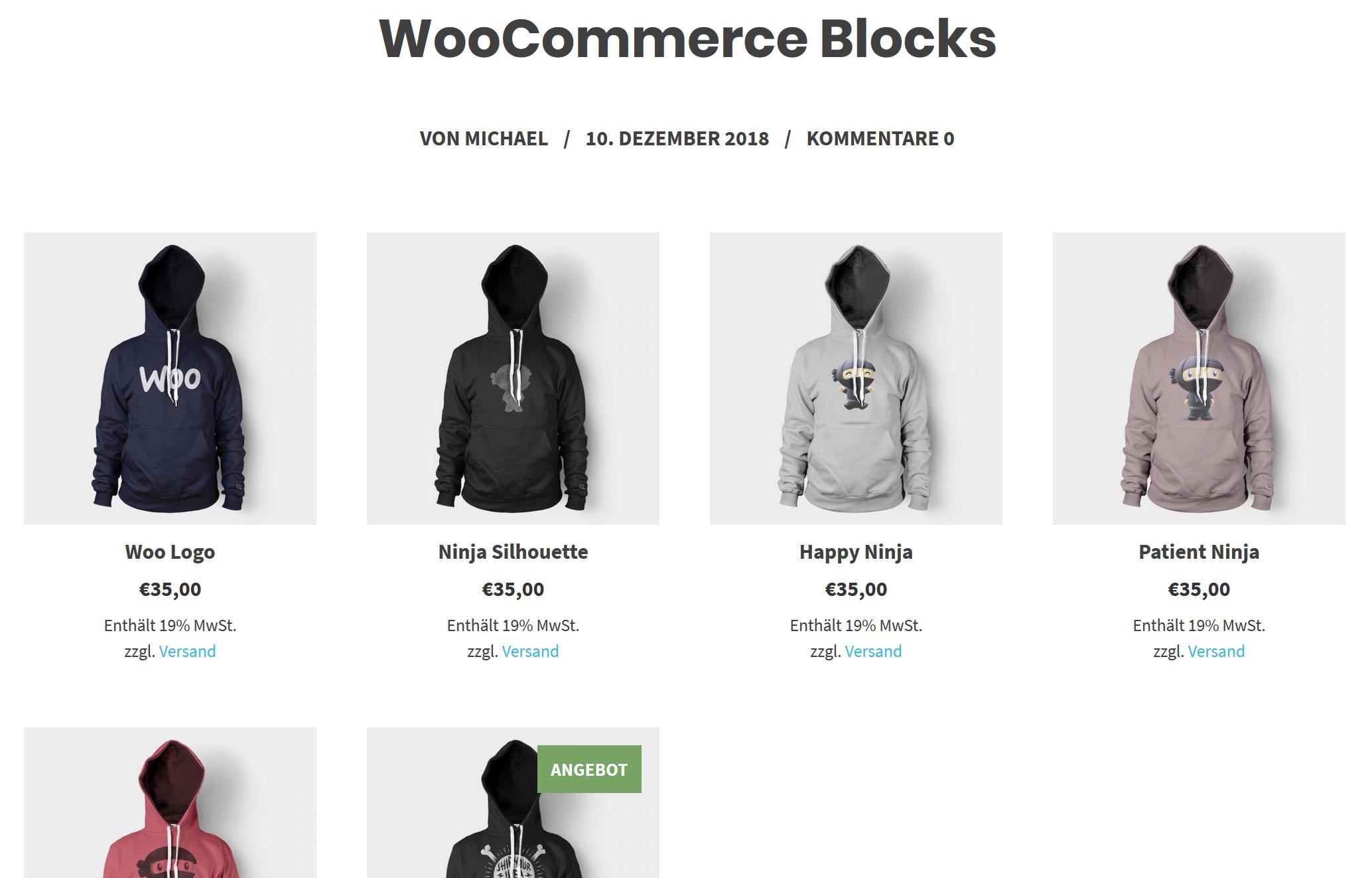 mehrere produktblocks WooCommerce