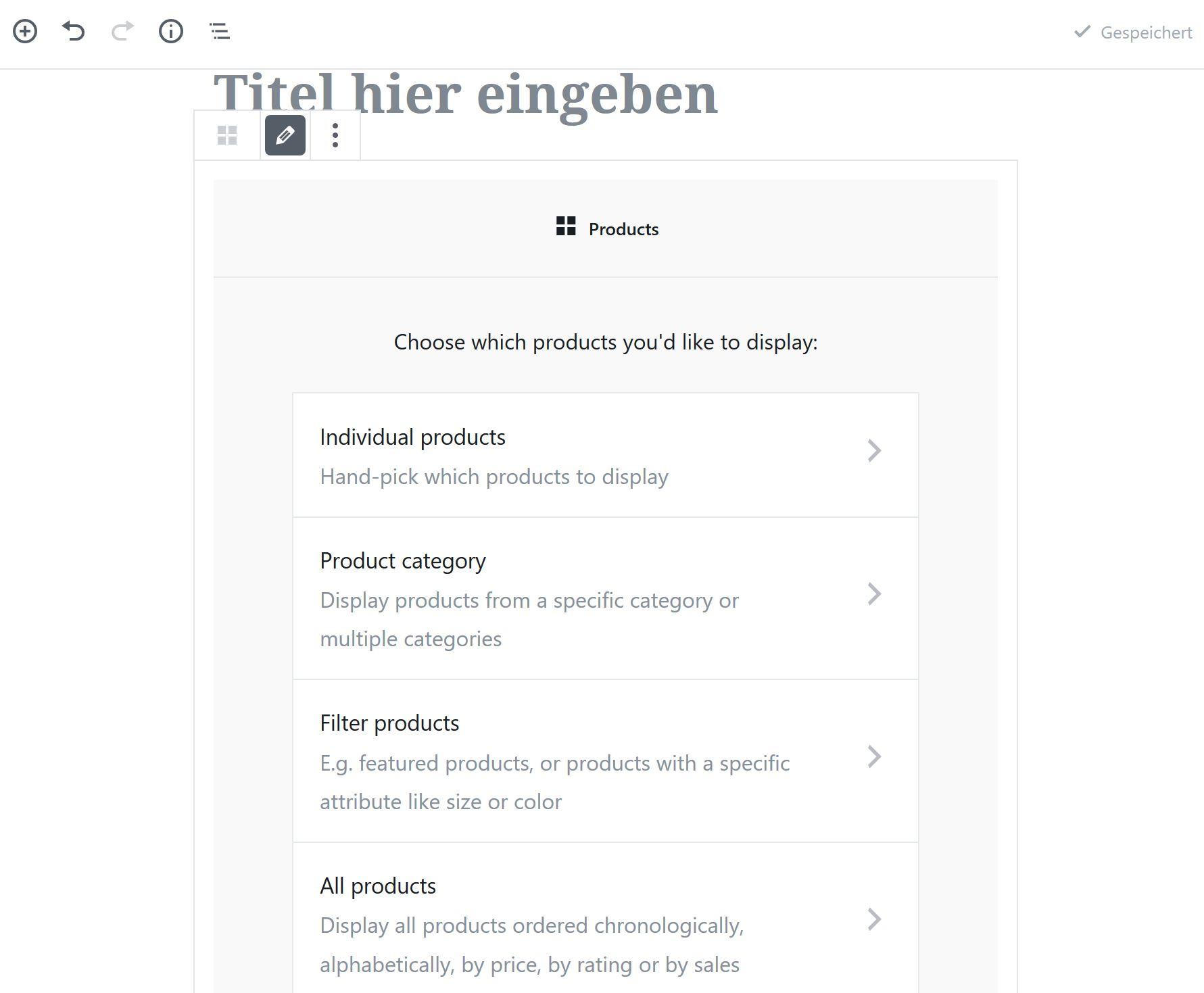 Produktblöcke Gutenberg