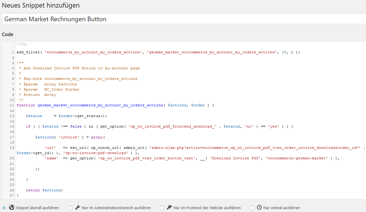 code snippet php plugin woocommerce
