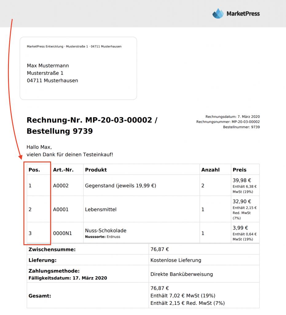 Rechnungs PDF mit Spalte Position