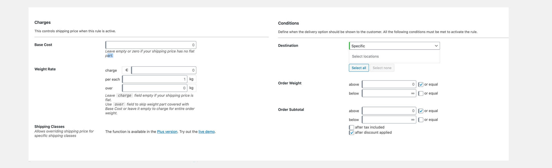 Weight Based Shipping WooCommerce