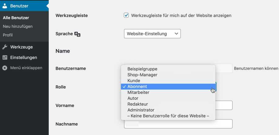 WooCommerce-Benutzerrolle