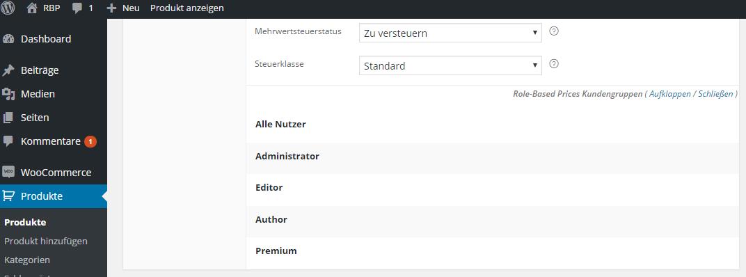 WP Nutzerrollen bei den Produktdaten.