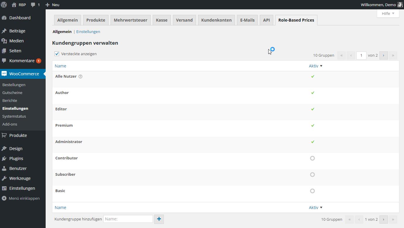 WP Nutzerrollen in der Kundengruppentabelle.