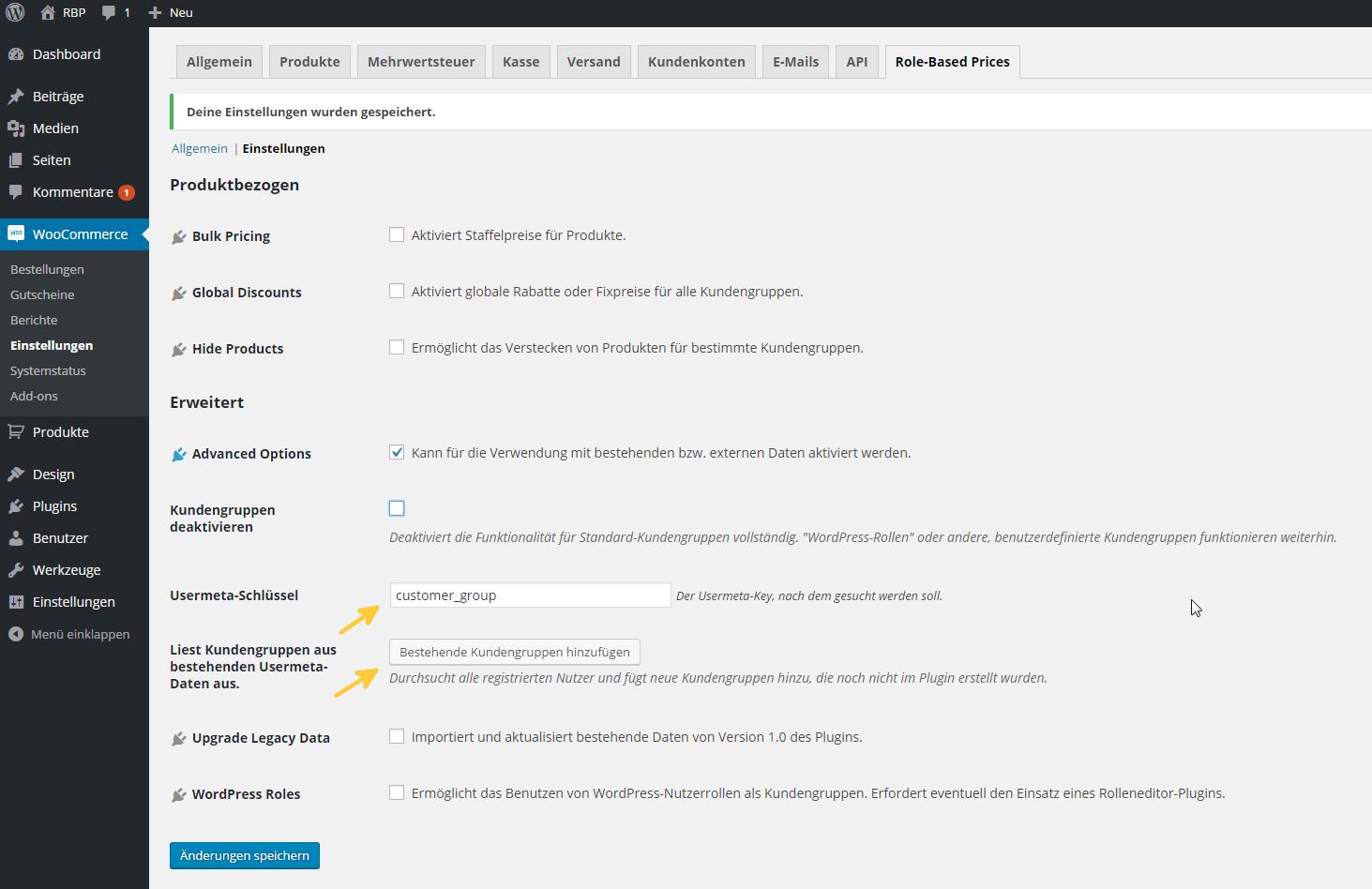 Kundengruppen aus Usermeta-Daten importieren.
