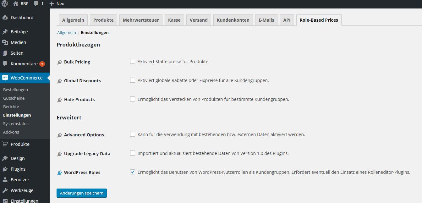 WordPress Nutzerrollen aktivieren.